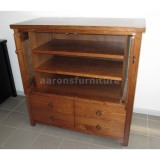 <center><b>CUSTOM Unit</b></br>Rustic Tasmanian Oak</br>1200 wide</br>with drawers and pocket doors